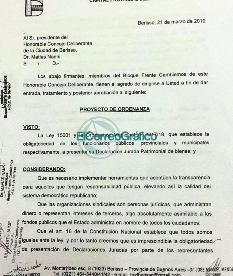 Troyecto de Ordenanza DDJJ Sindicalistas Municipales de Berisso Cambiemos 01