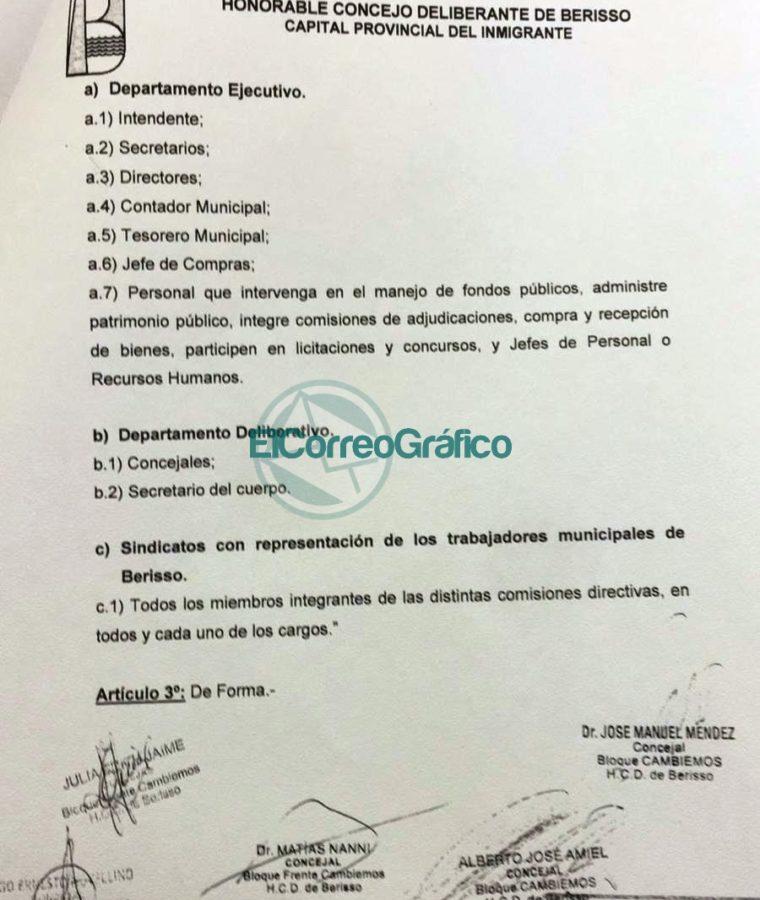 Troyecto de Ordenanza DDJJ Sindicalistas Municipales de Berisso Cambiemos 03