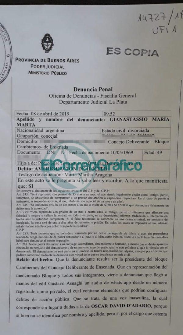 Denuncia penal Gianastassio cambiemos Ensenada contra Secco y Schneider1