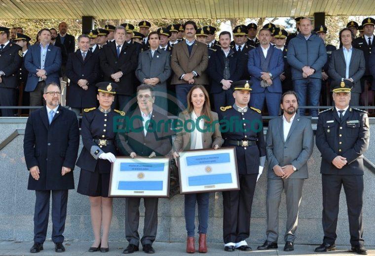 Vidal acompañado de Ritondo tomaron Juramento a la Bandera a los cadetes de la Bonaerense 1