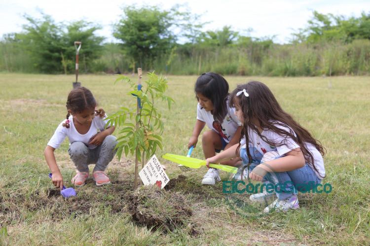 Alumnos de jardines platenses plantaron árboles nativos en el Parque Ecológico 4