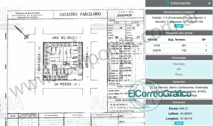 Catastro parcelario de la propiedad Perón y La Merced Ensenada (RealPolitik)