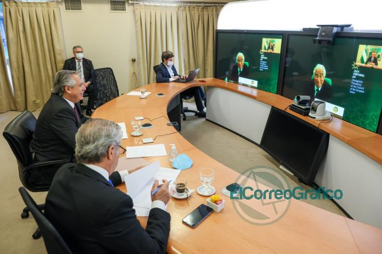 Fernandez mantuvo una videoconferencia con el primer ministro de Portugal 1
