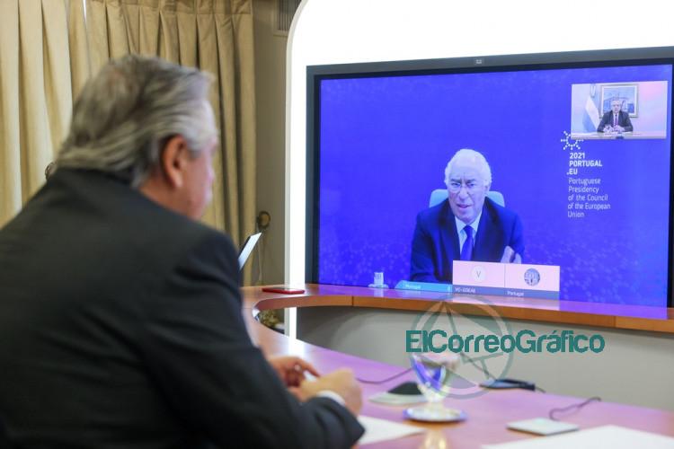 Fernandez mantuvo una videoconferencia con el primer ministro de Portugal 2