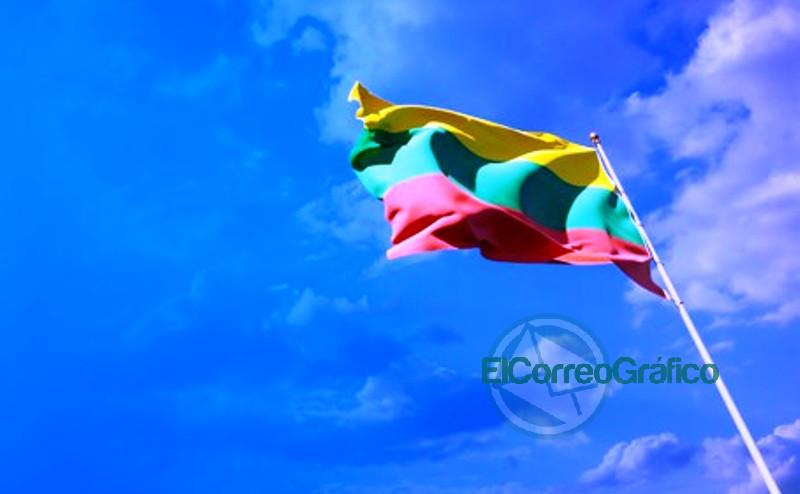 hermosa bandera estado nacional lituania espacio blanco sobre fondo amplio 337817 894