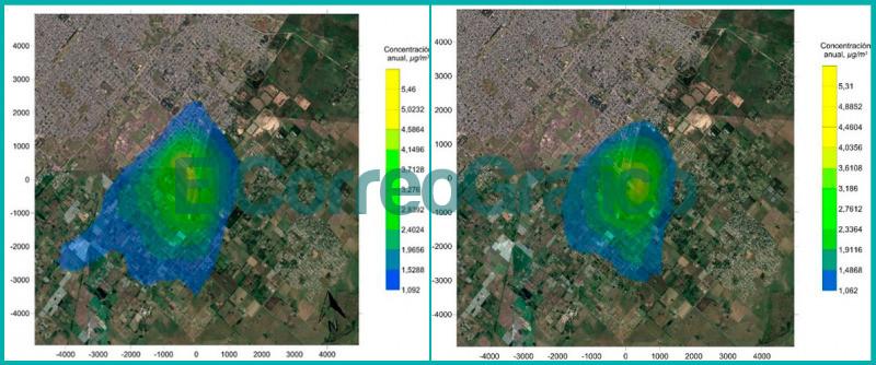 Analisis de dispersion gaseosa producto de la actividad aerocomercial en un aeropuerto y su relacion con el entorno urbano. Izquierda Monoxido de Carbono