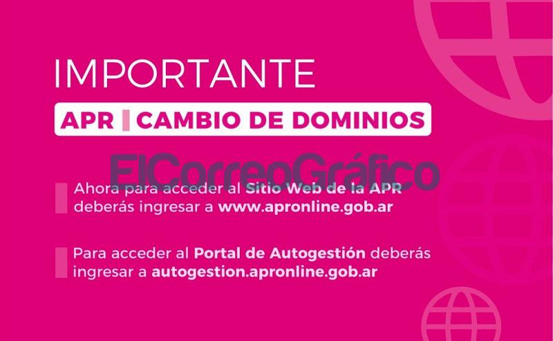 Modifican los dominios para acceder al sitio web de la APR y al Portal de Autogestion