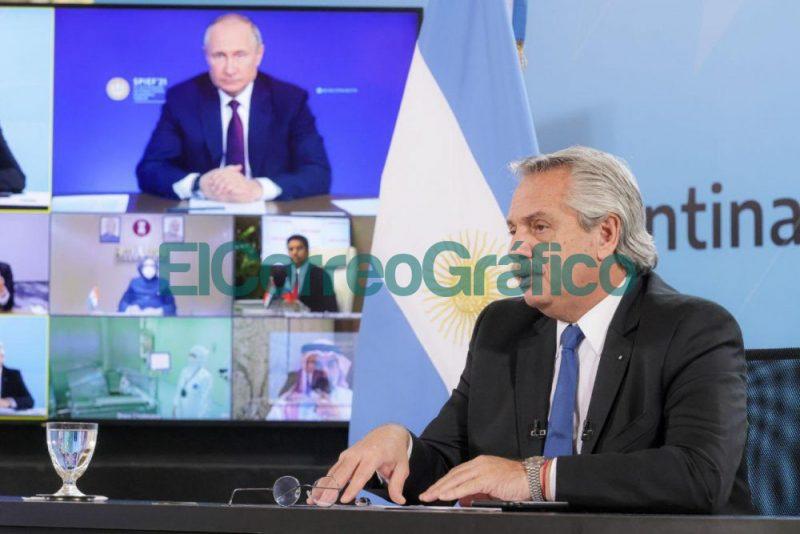 Alberto Fernandez y Vladimir Putin anunciaron el inicio de la produccion de la vacuna Sputnik V en Argentina 2